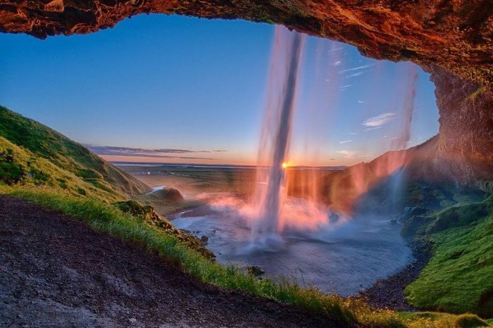 This is the Seljalandsfoss Waterfall, that looks like a waterfall that could only be found in the storybooks