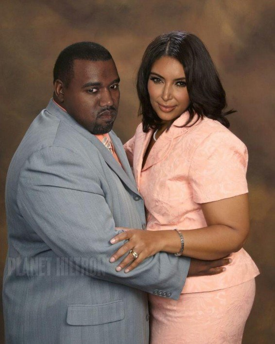Kim and Kanye as a fat couple.