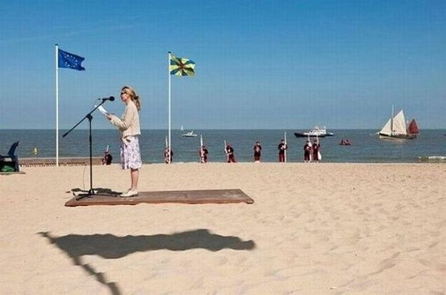 How is this girl levitating on a flying carpet? It must be magic.