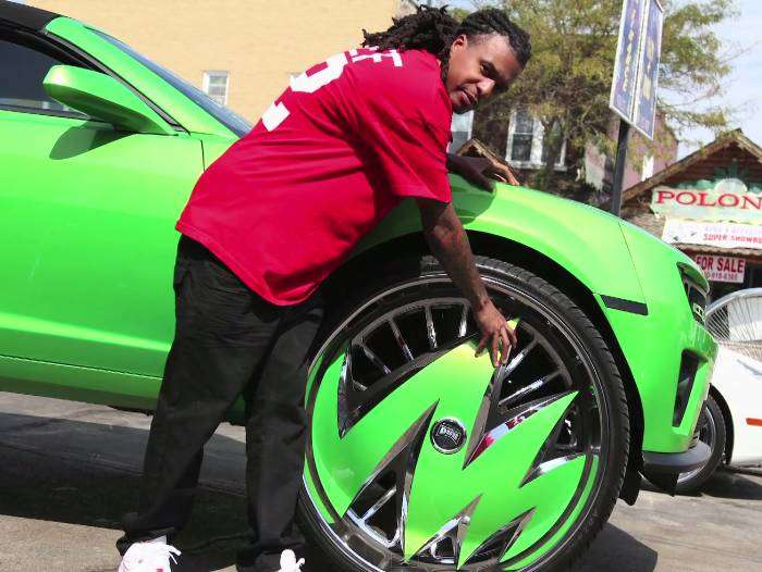 The car is designed so that the wheels don't rub like they would normally do on a car with rims this size. Corey says that he is able to do a full U-turn in this car.
