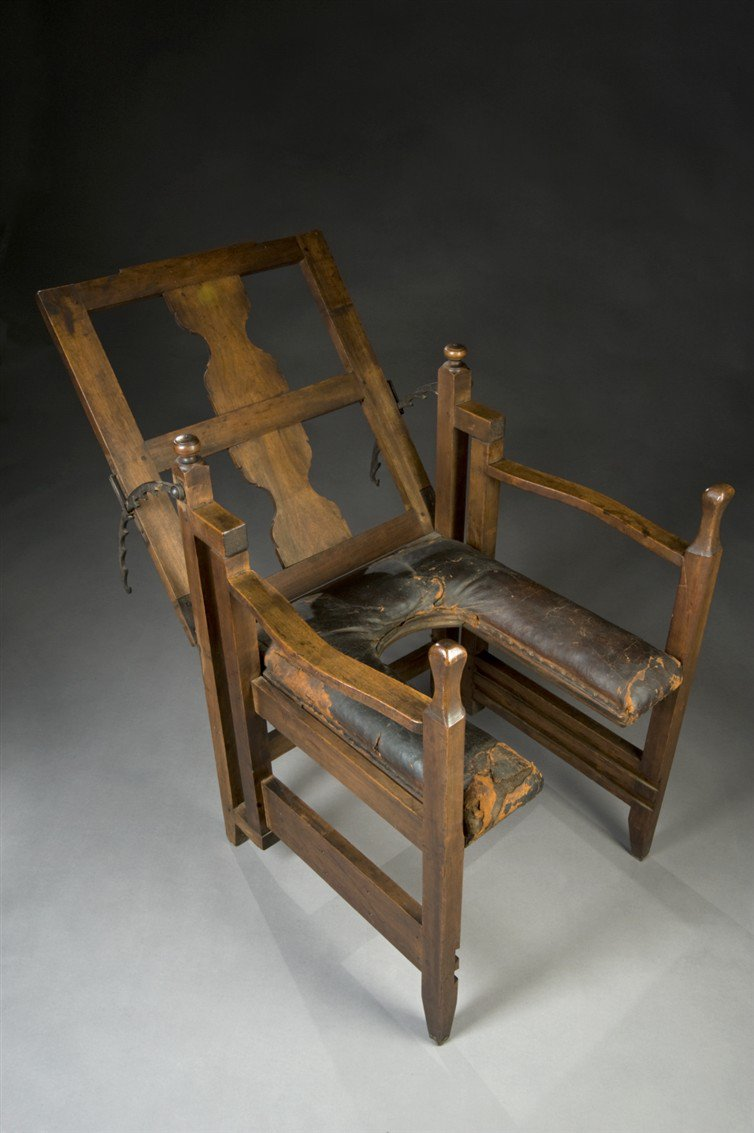 This Horrible Looking Chair is European Birthing Chair from the year 1750